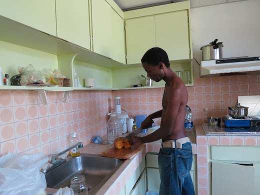 What's cookin' inside? Chopping locally-grown pumpkin