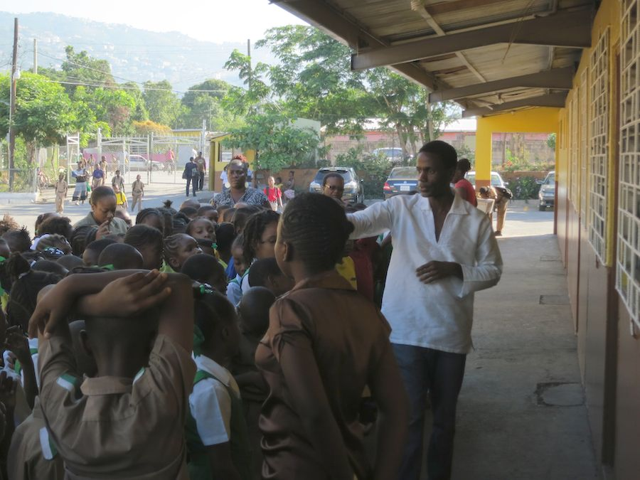 talking to students in jamaica