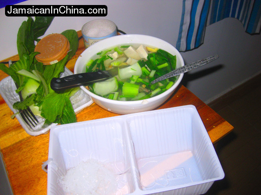 vegetable soup with tofu hainan china vegan