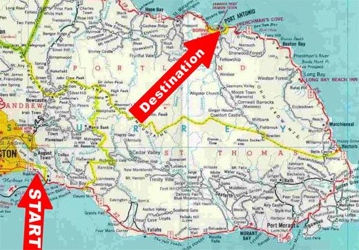 Kingston to Port Antonio along the coast