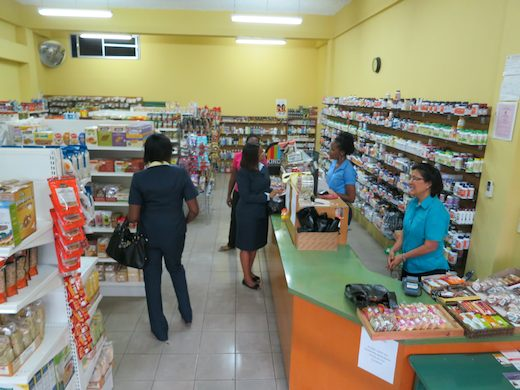 The shelves and shoppers at Natural Health Whole Foods Store in Kingston Jamaica